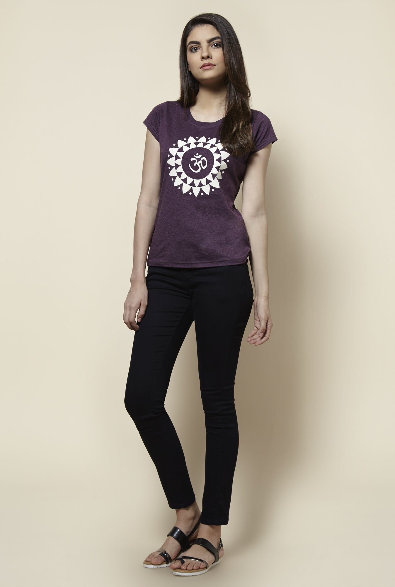 Zudio Purple Printed T Shirt