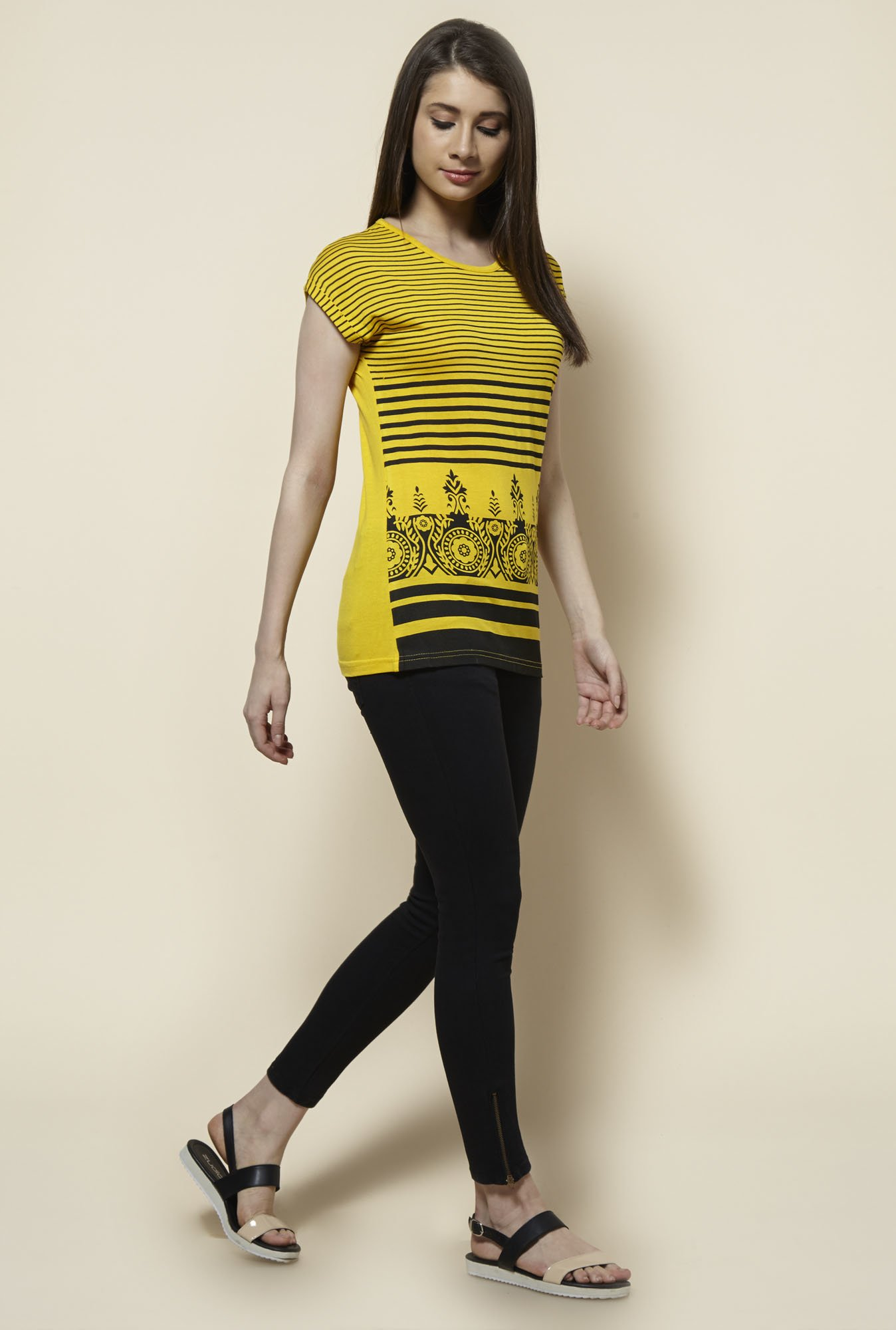 Zudio Yellow Striped Top