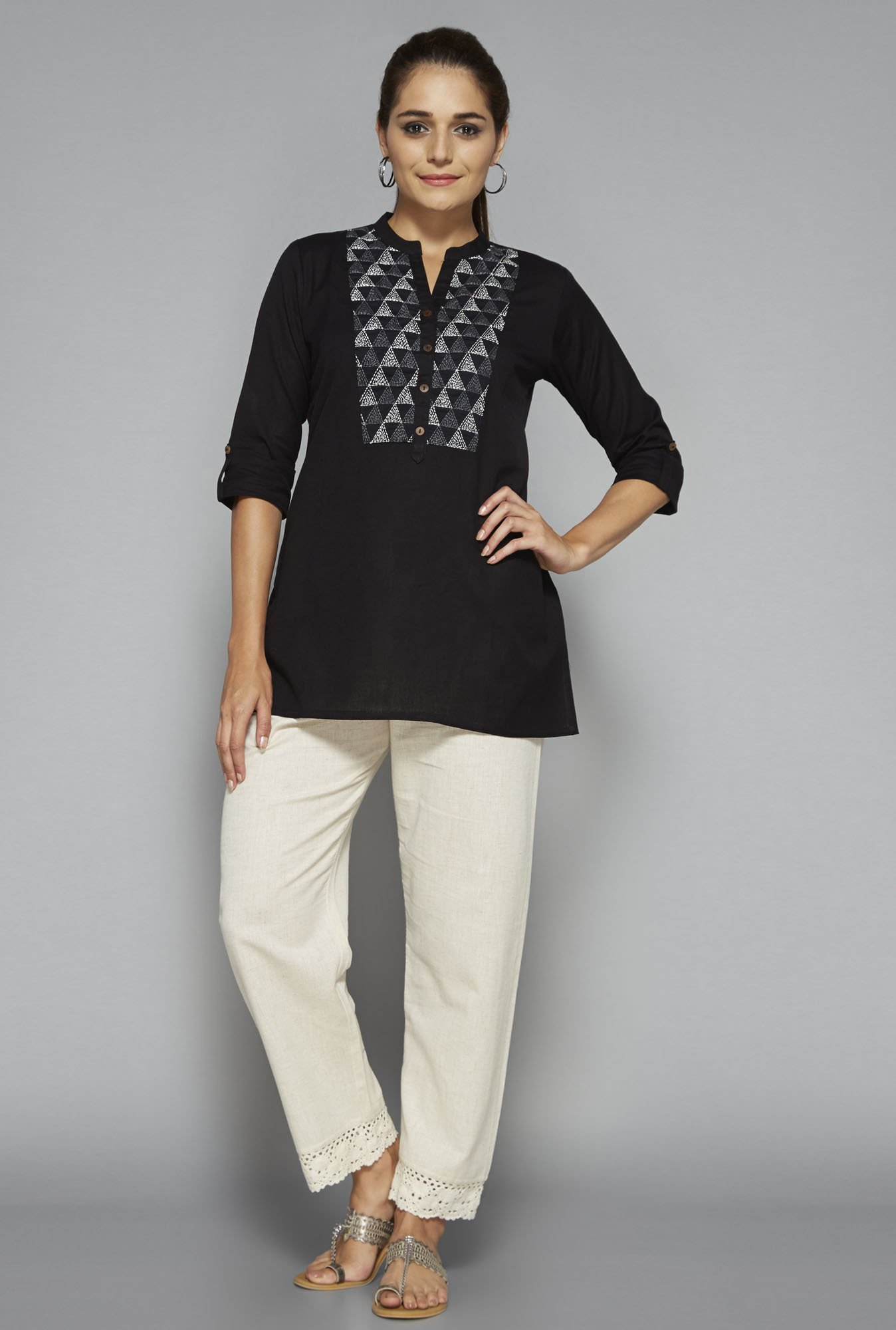 Utsa by Westside Black Embroidered Kurti
