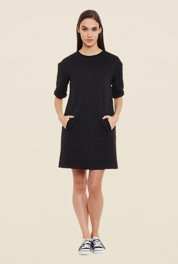 Femella Black Quilted Shift Dress
