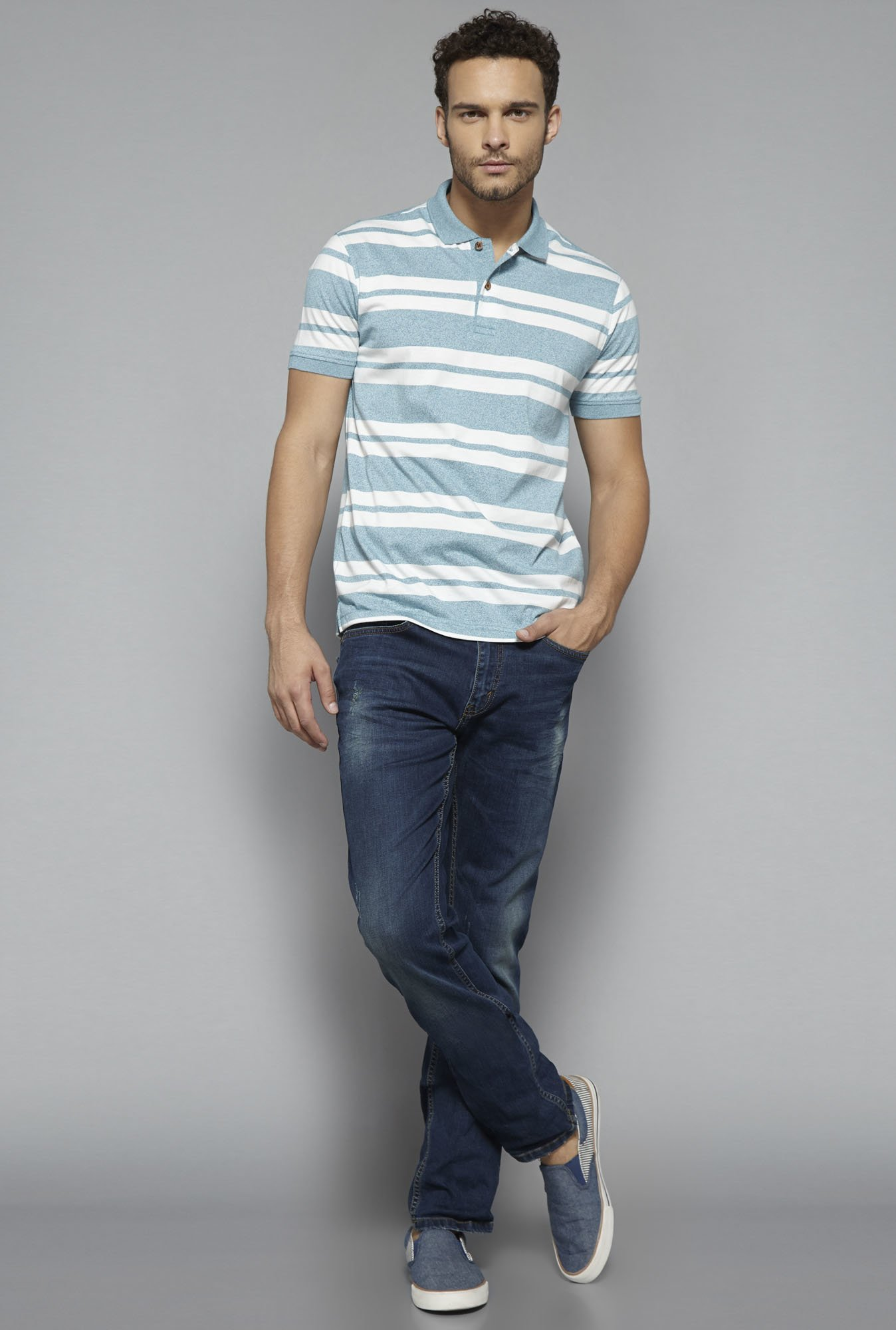 Westsport by Westside Blue Striped T Shirt