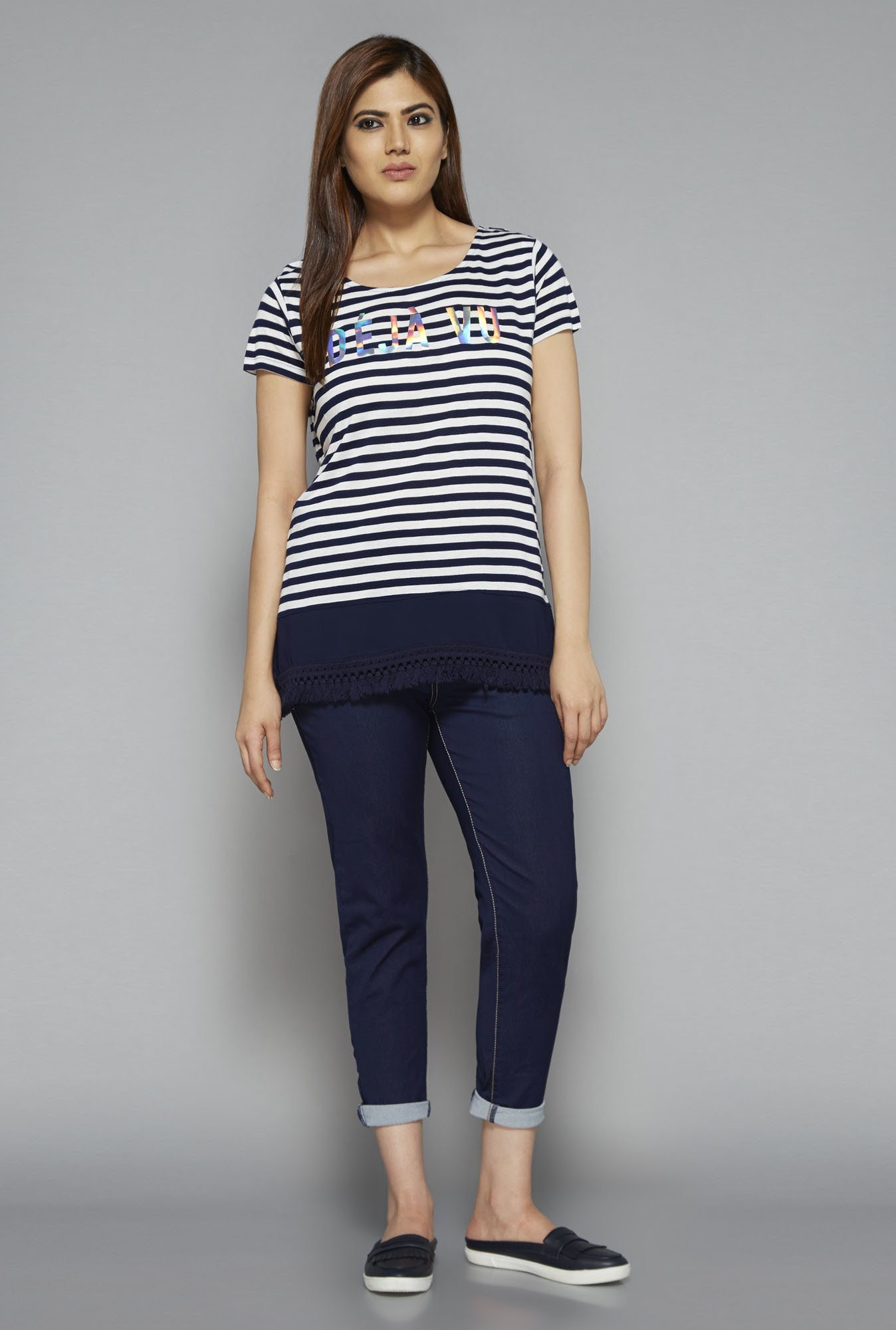 Sassy Soda by Westside Navy Striped T Shirt