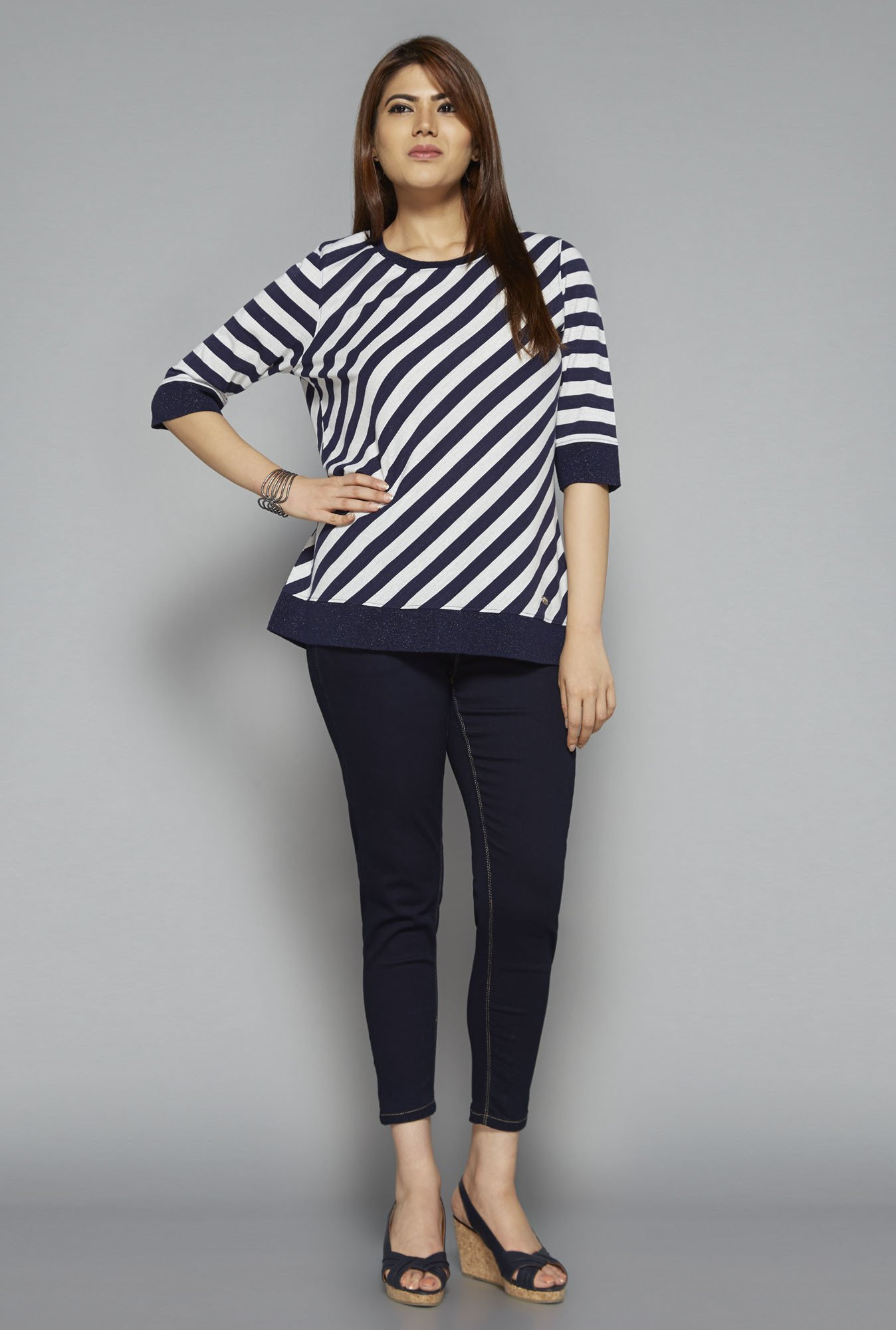 Gia by Westside Navy Striped Top