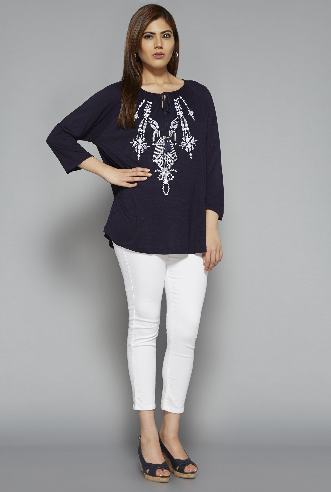 Gia by Westside Navy Ashley Blouse