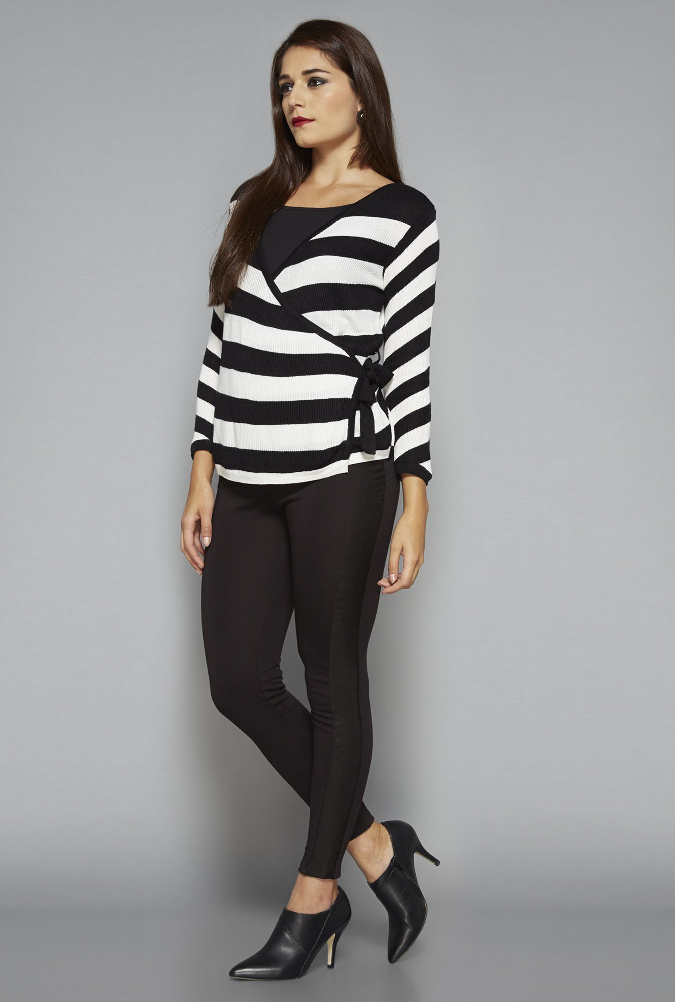 Wardrobe by Westside Black Striped Hilton Cardigan