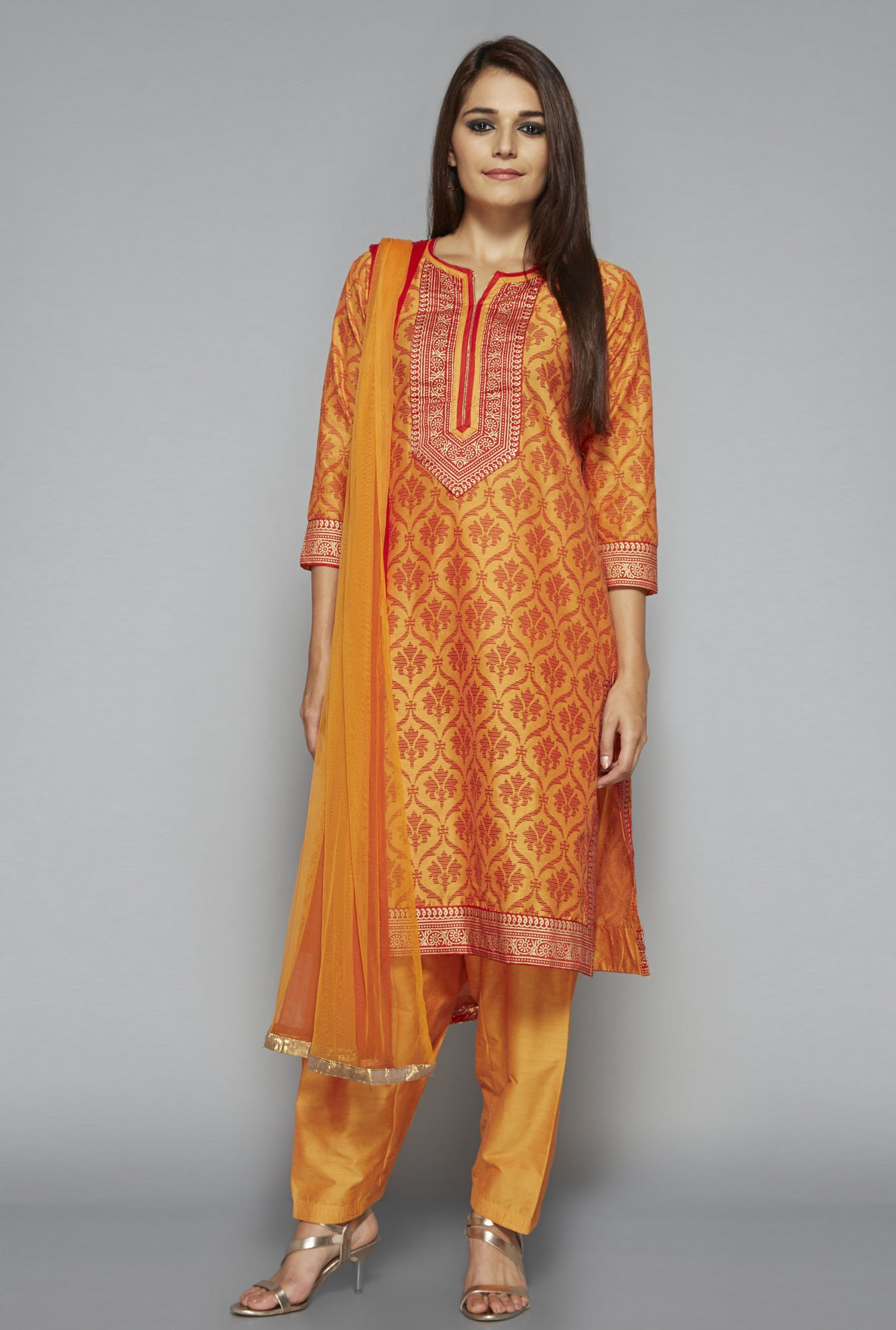 Vark by Westside Orange Printed Suit Set