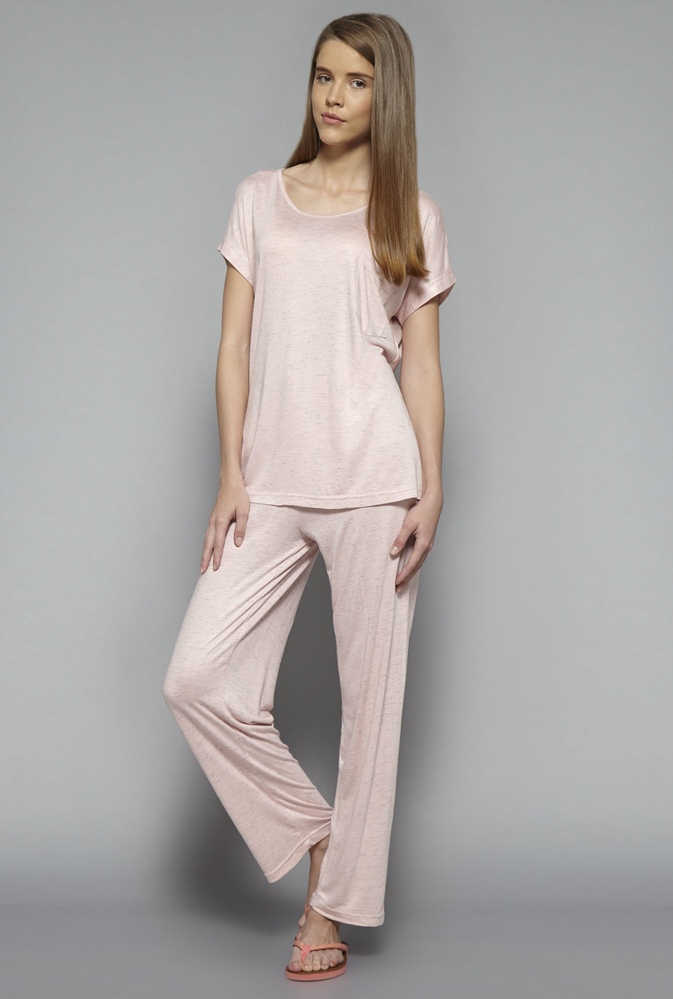 Intima by Westside Pink Textured Pyjama Set
