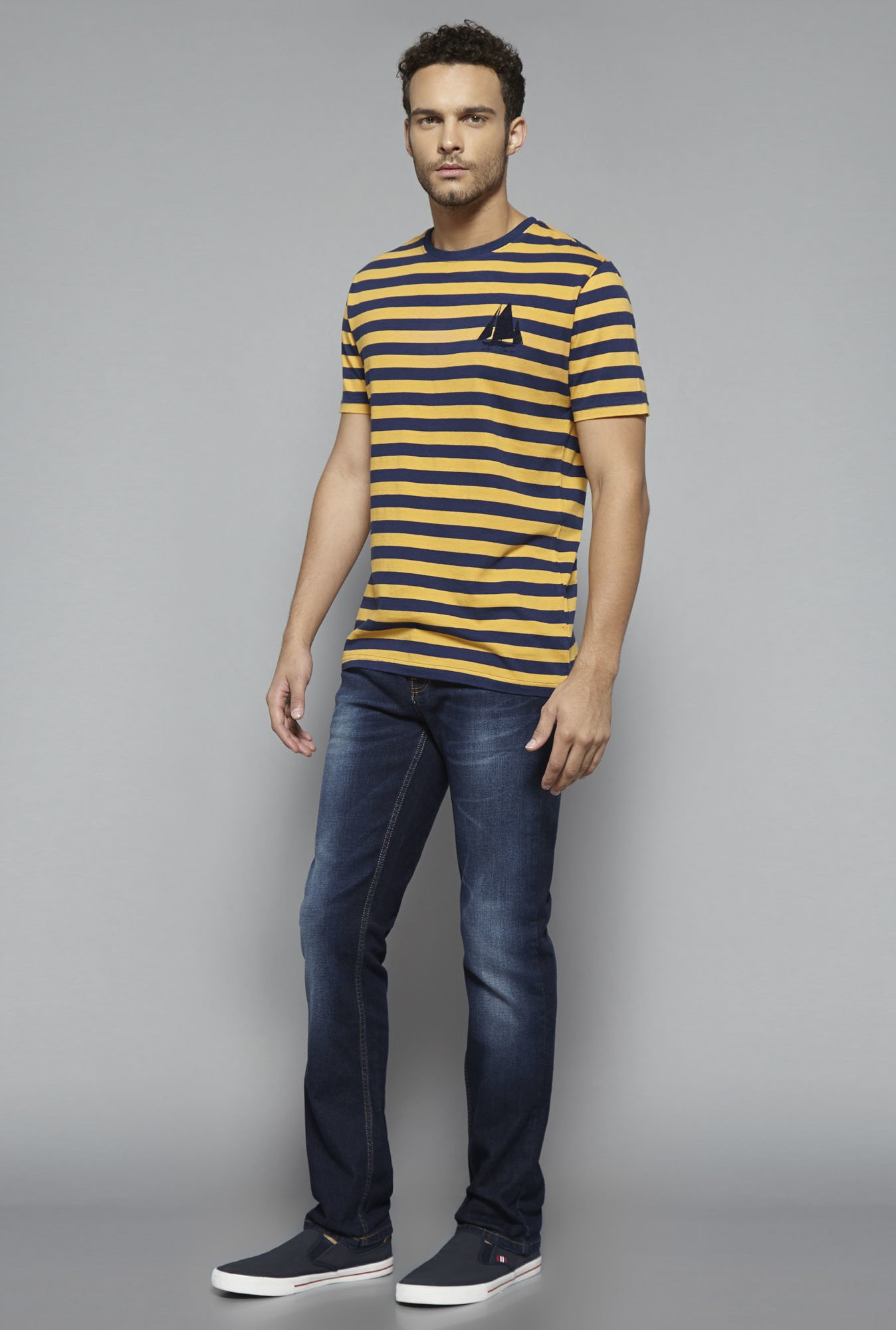 Westsport by Westside Yellow Striped T Shirt
