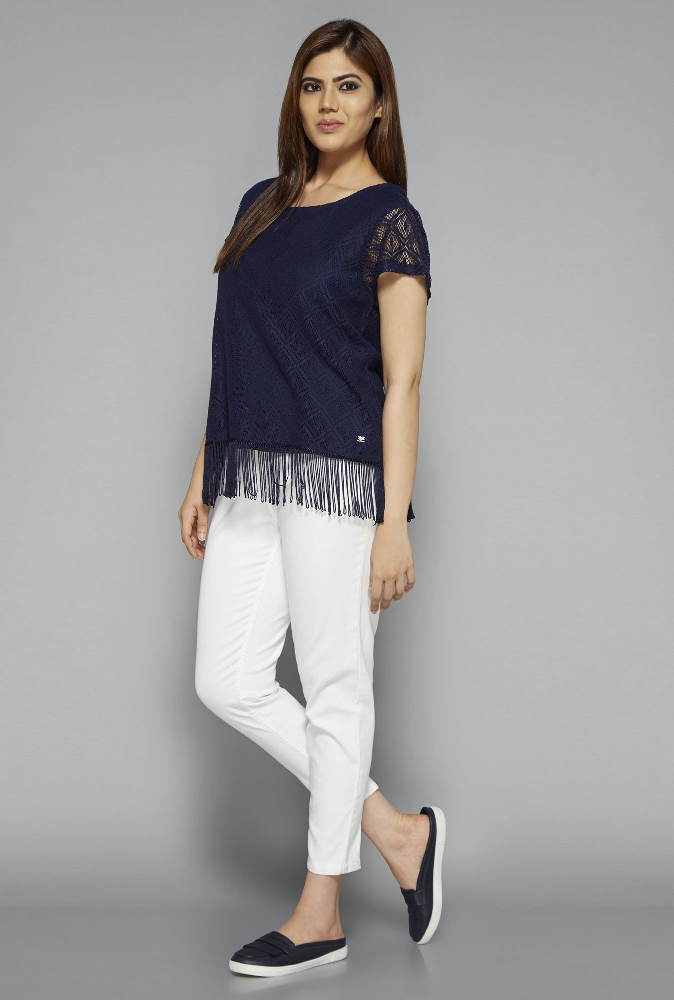 Sassy Soda by Westside Navy Fringe Lace Blouse