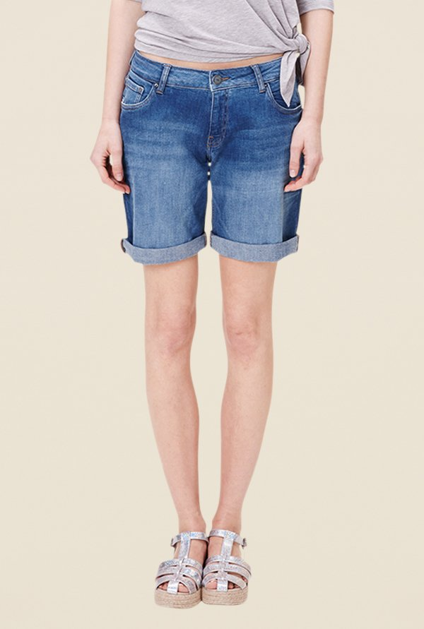 s.Oliver Blue Solid Mid Rise Shorts