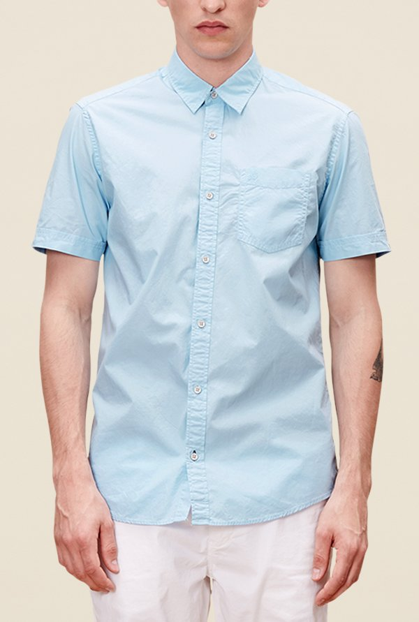 s.Oliver Blue Solid Shirt