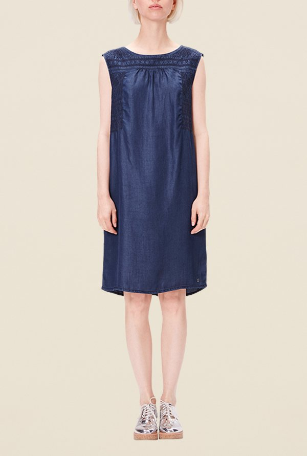 s.Oliver Navy Embroidered Dress