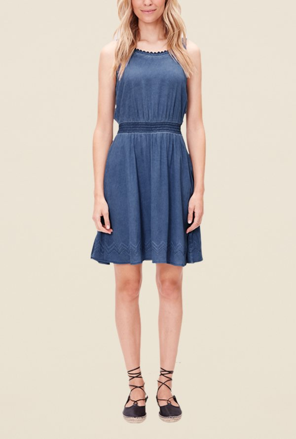 s.Oliver Blue Solid Dress