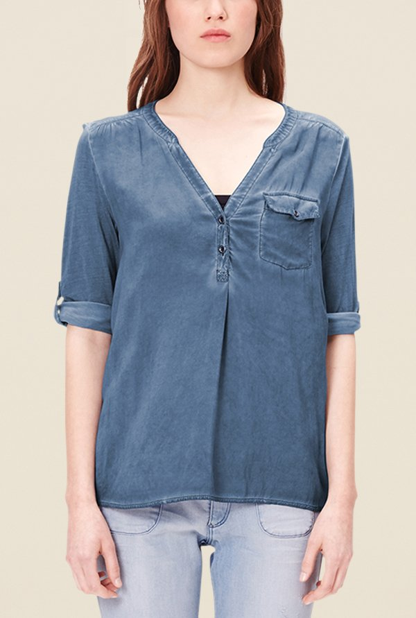 s.Oliver Blue Solid Top