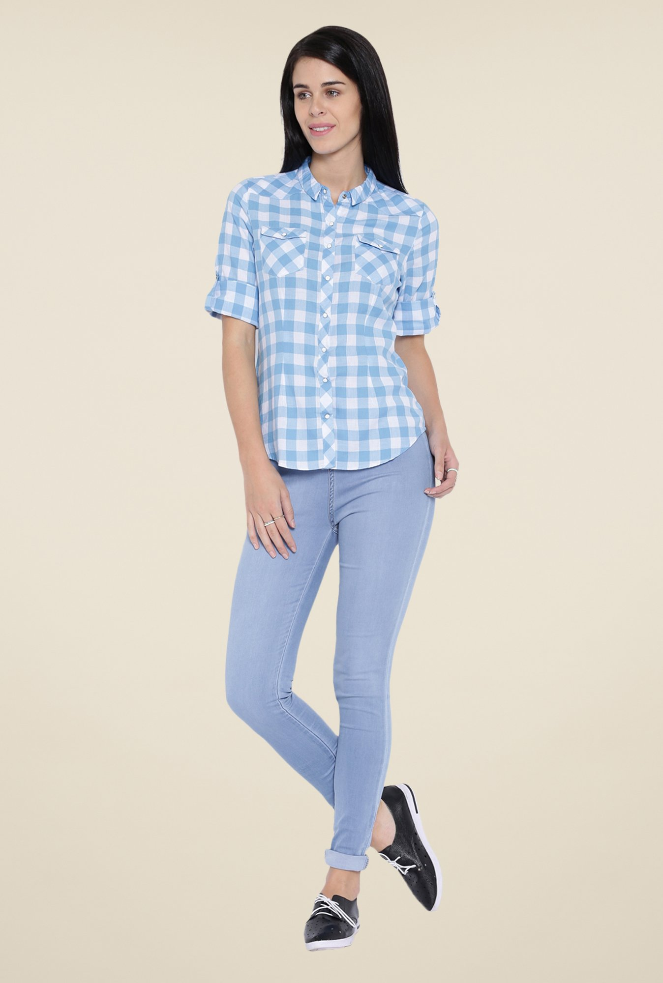 Kraus Light Blue Solid Jeggings