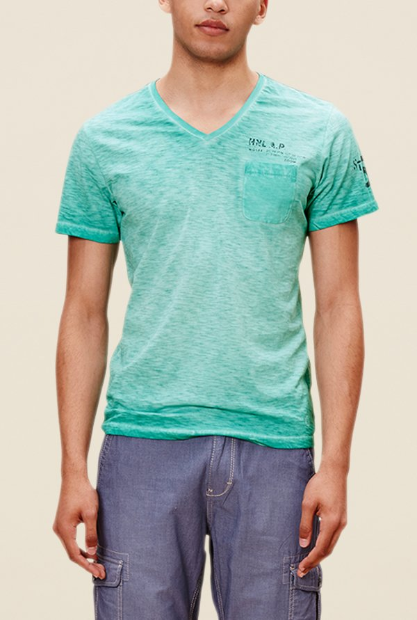 s.Oliver Green Textured T Shirt