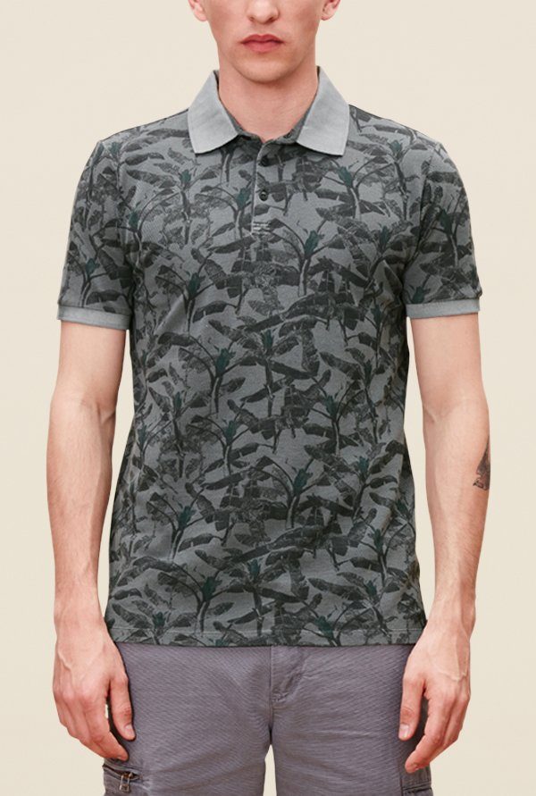 s.Oliver Grey Printed Short Sleeve T Shirt