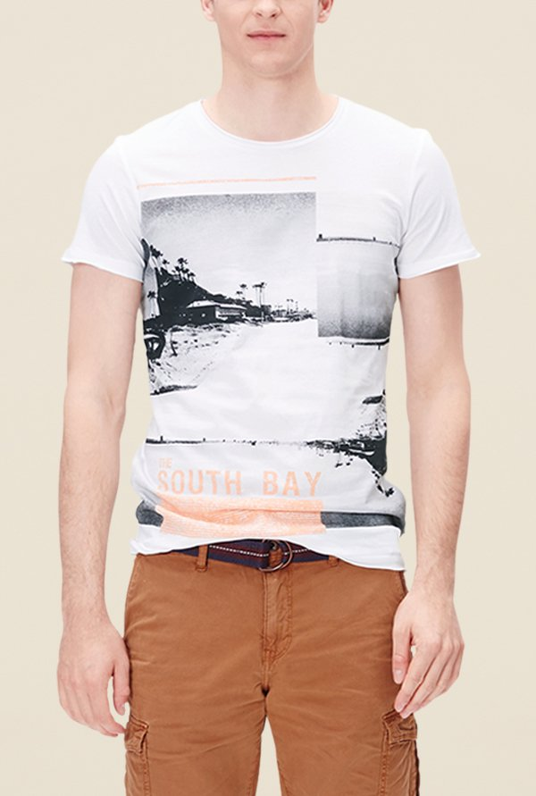 s.Oliver White Printed Short Sleeve T Shirt