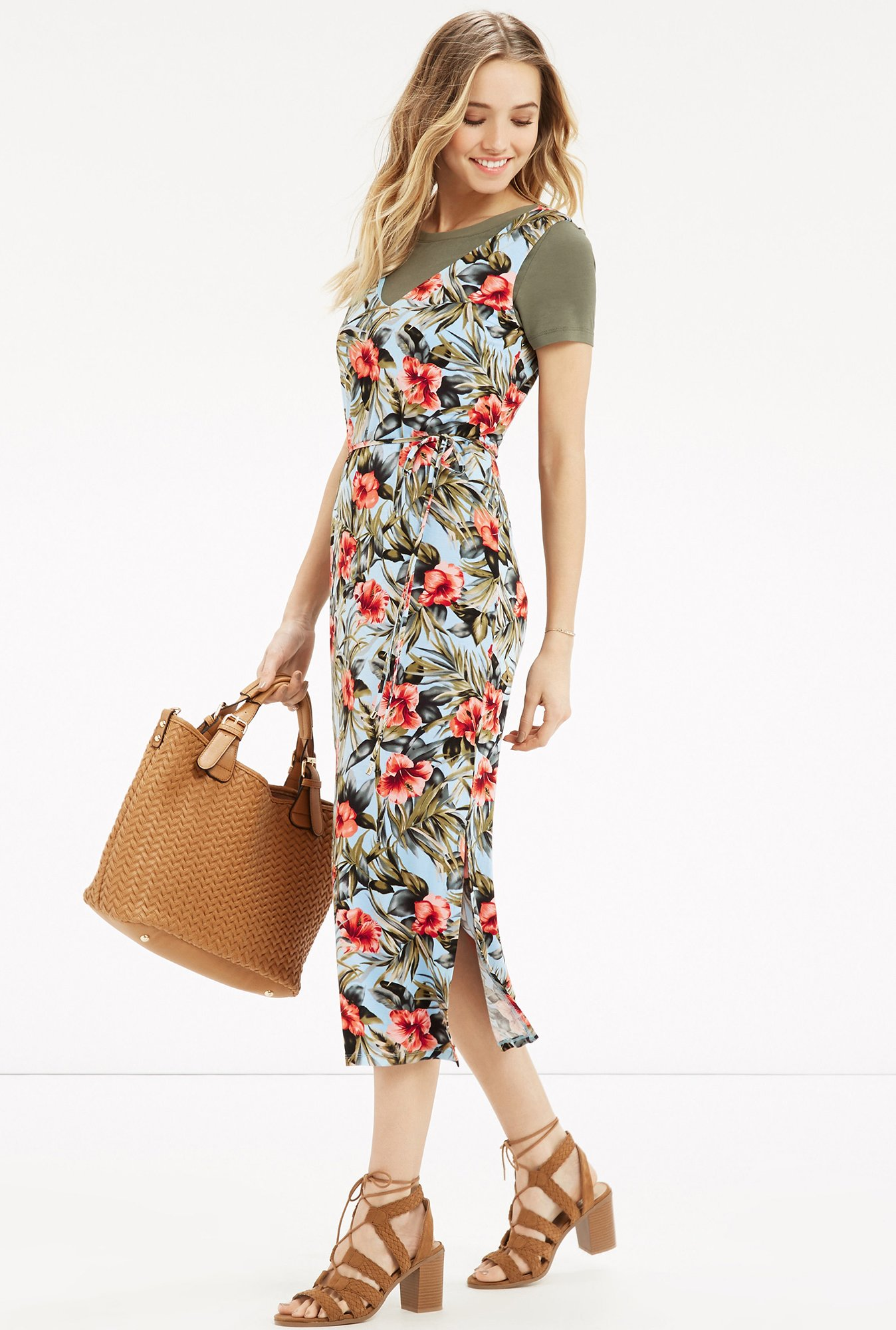 Oasis Multicolor Floral Print Dress