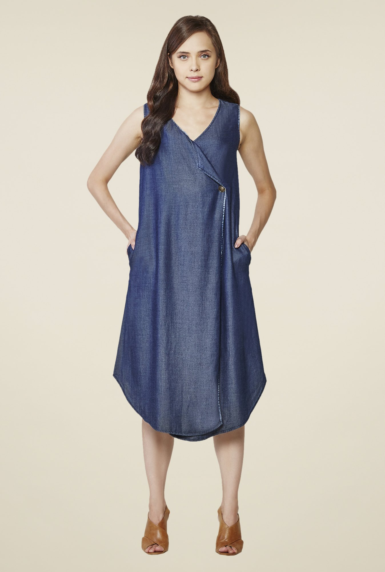 AND Blue Solid Sleeveless Dress