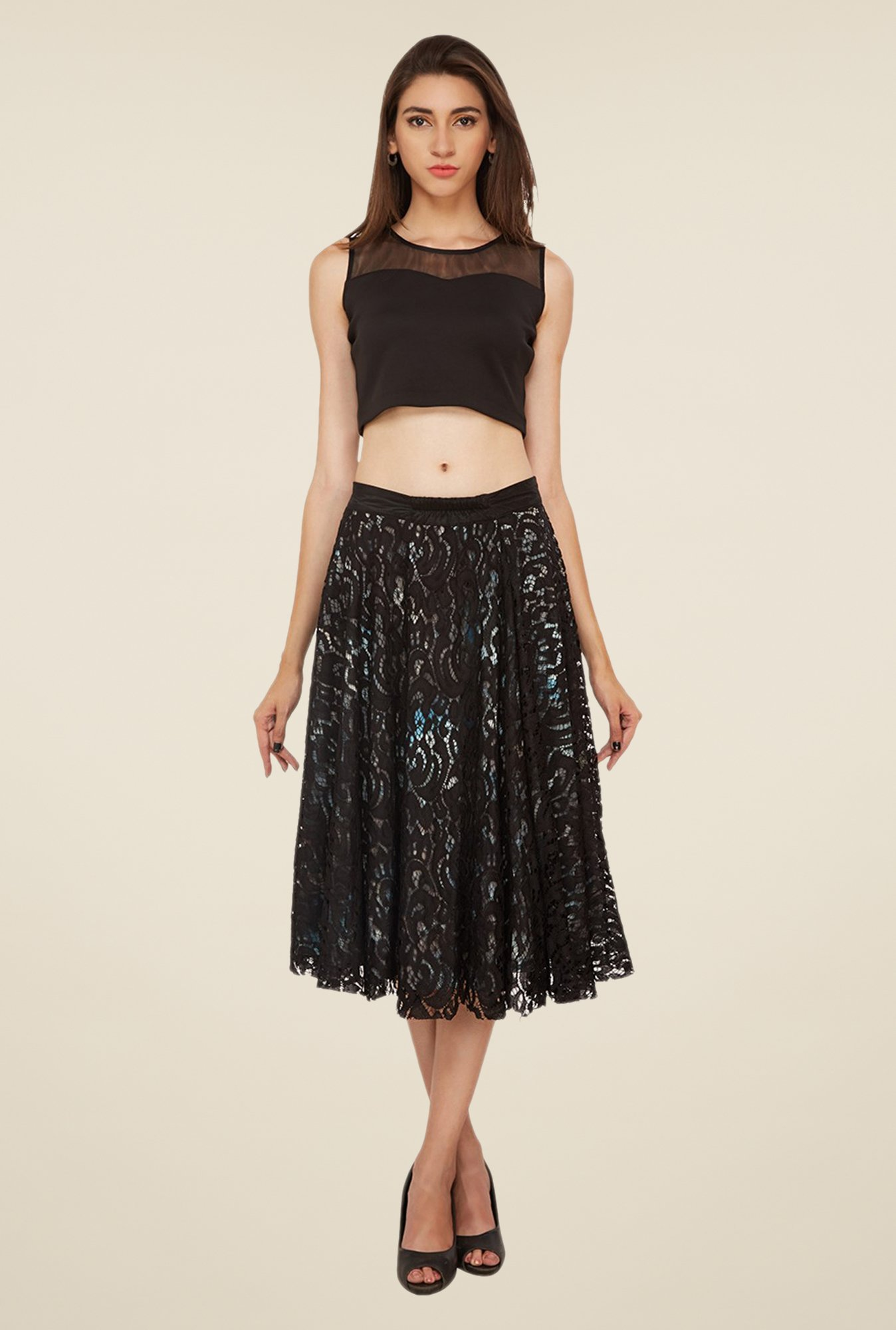 Soie Black Flared Skirt
