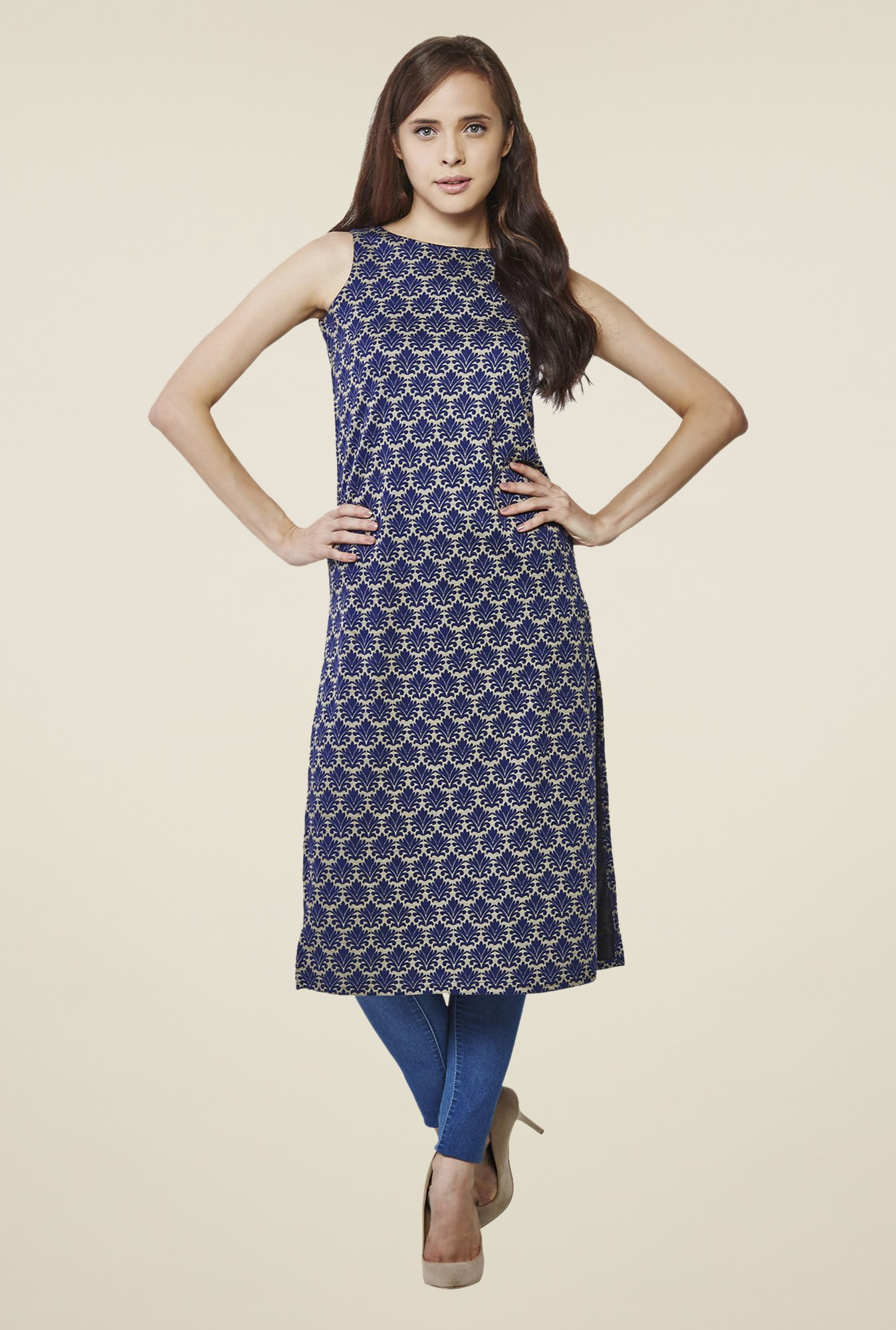 AND Navy Printed Print Kurta