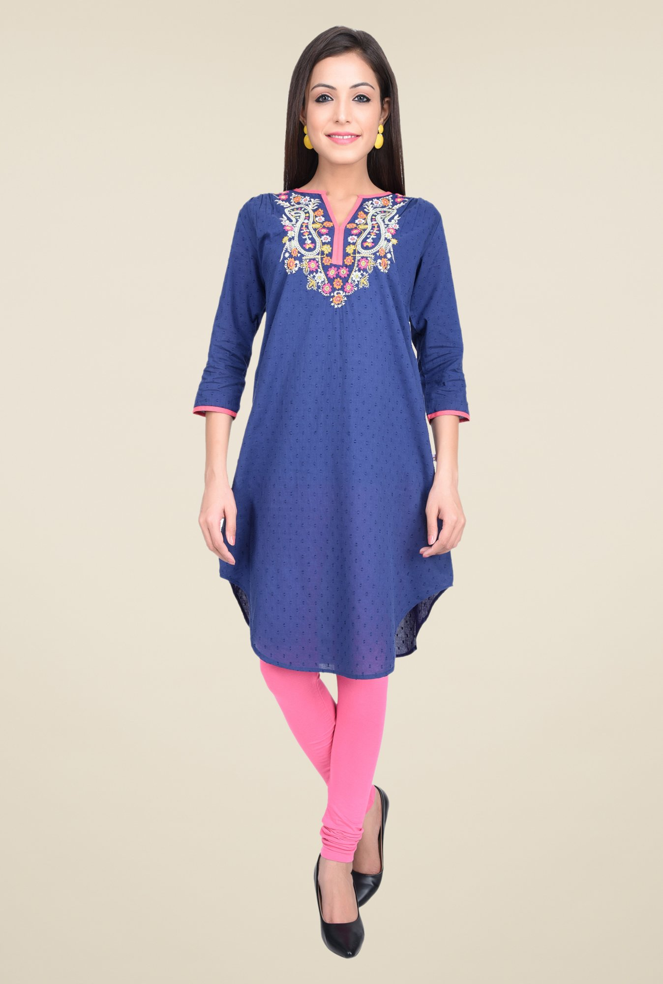 Juniper Navy Embroidered Tunic