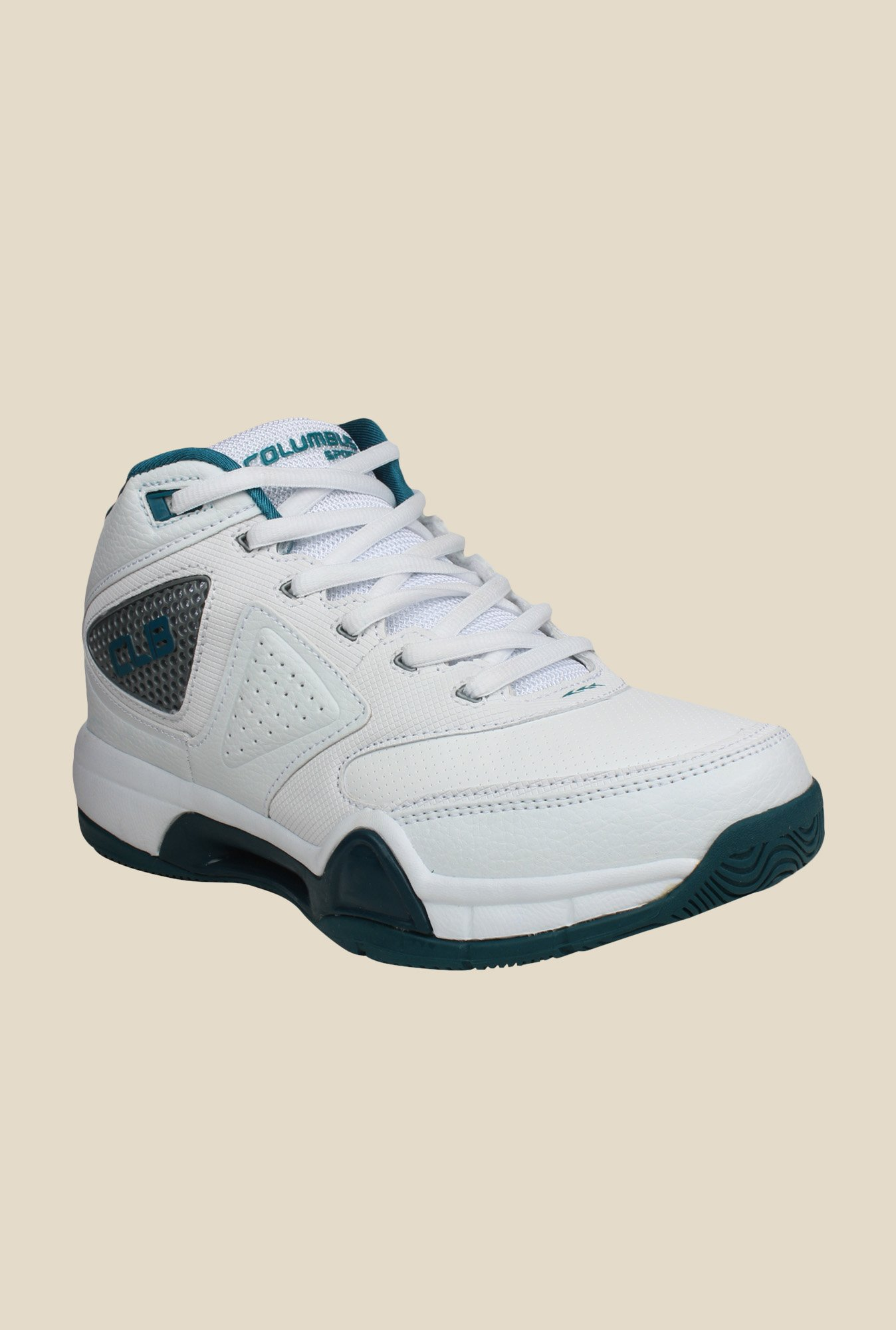 Columbus Charger White & Sea Green Training Shoes