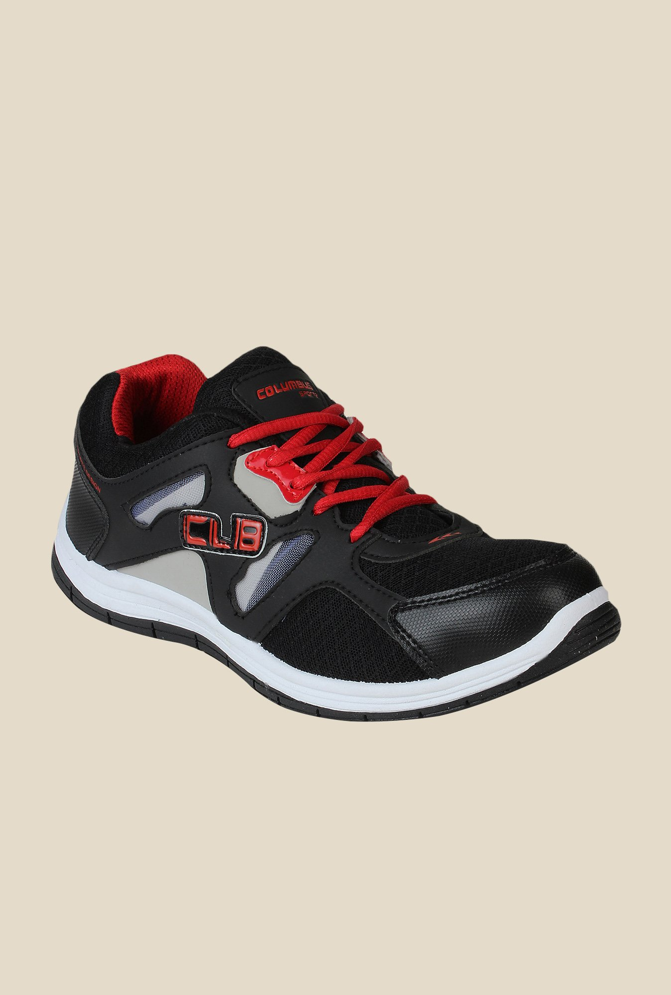 Columbus FM-4 Black & Red Running Shoes