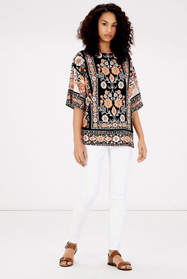 Warehouse Black Floral Printed Top