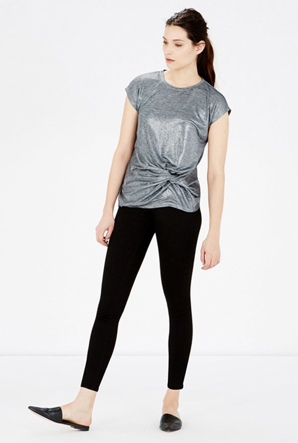 Warehouse Silver Metallic Top