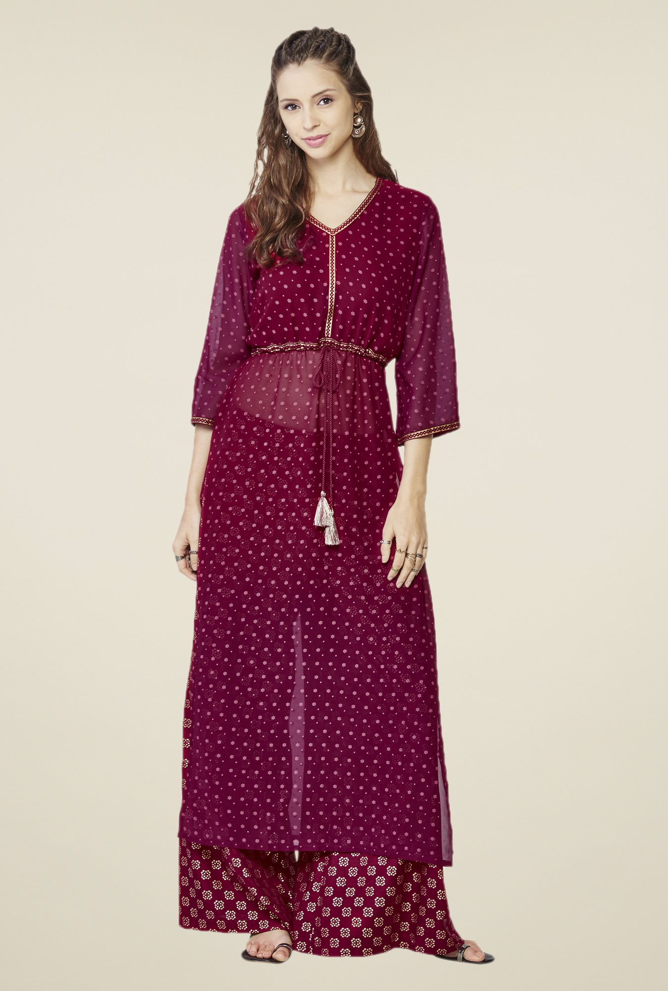 Global Desi Maroon Printed Two Piece Suit Set