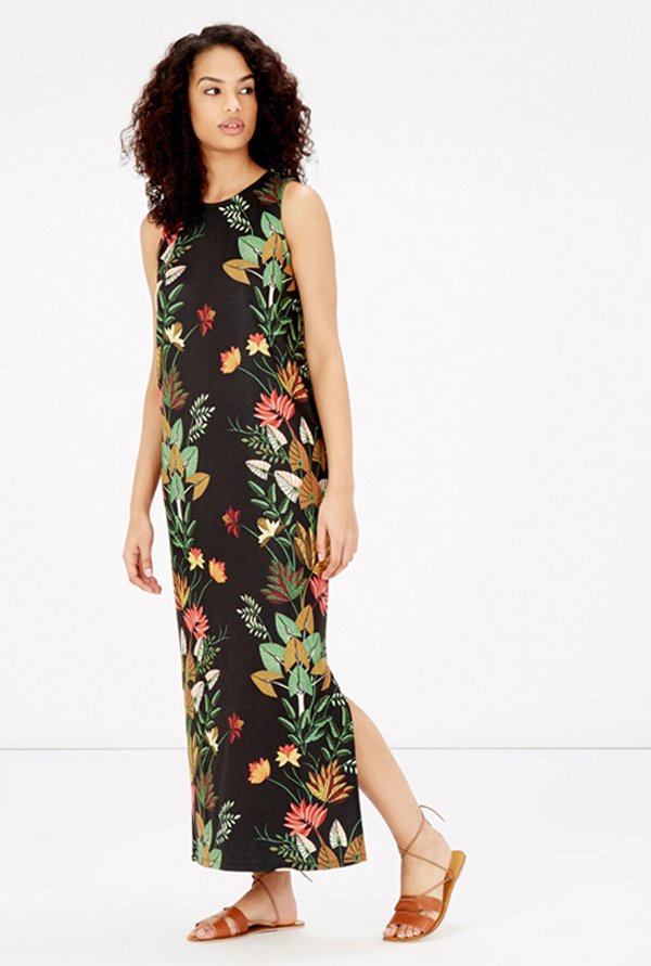 Warehouse Black Floral Print Maxi Dress