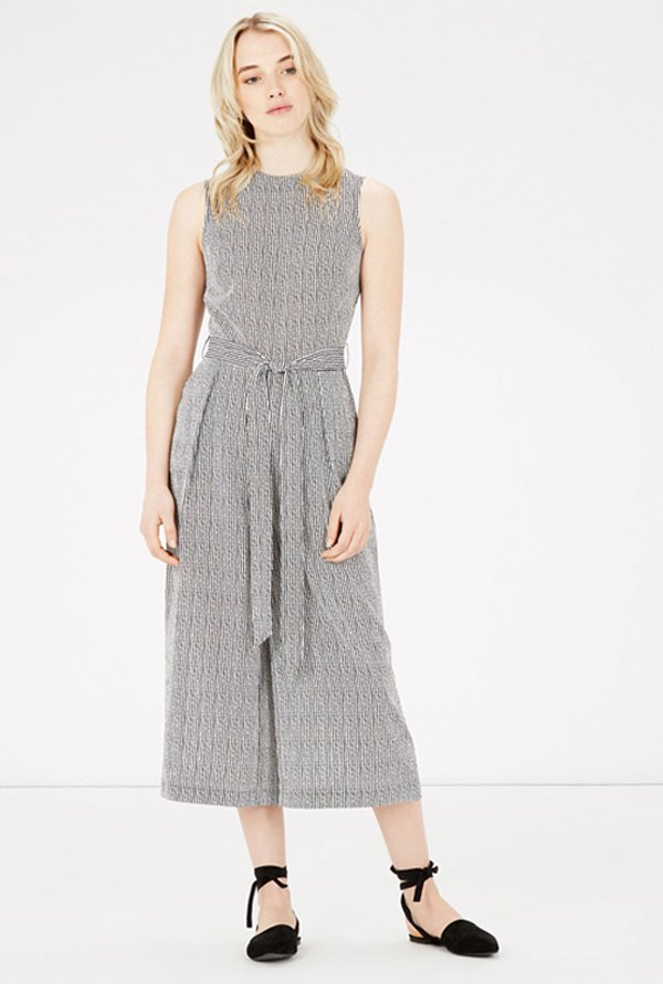 Warehouse Black Striped Jumpsuit
