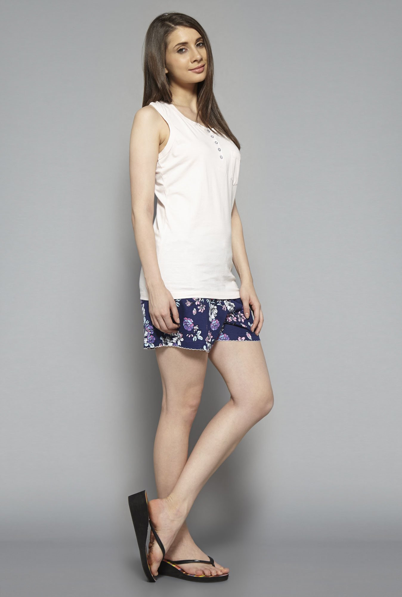 Intima by Westside Navy & Pink Floral Print Shorts Set