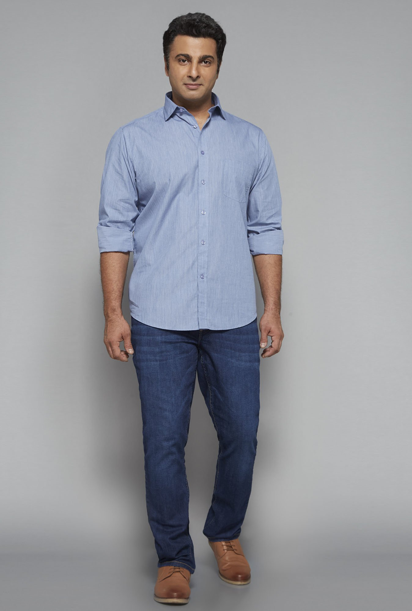 Oak & Keel by Westside Blue Solid Shirt