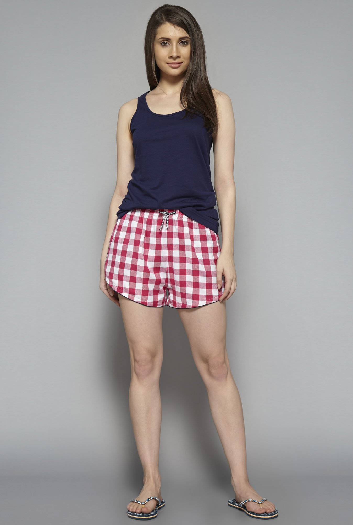 Intima by Westside Pink Checks Shorts