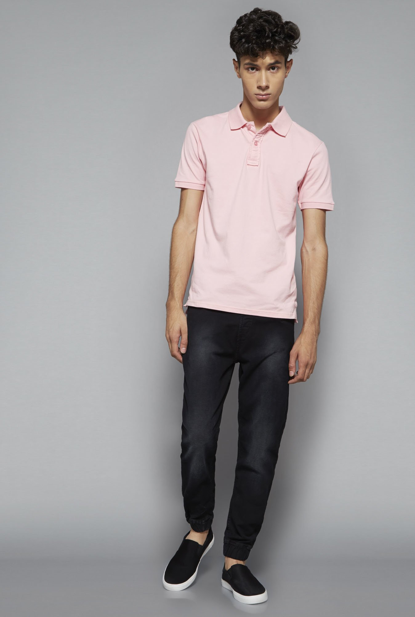 Nuon by Westside Pink Slim Fit Polo T Shirt