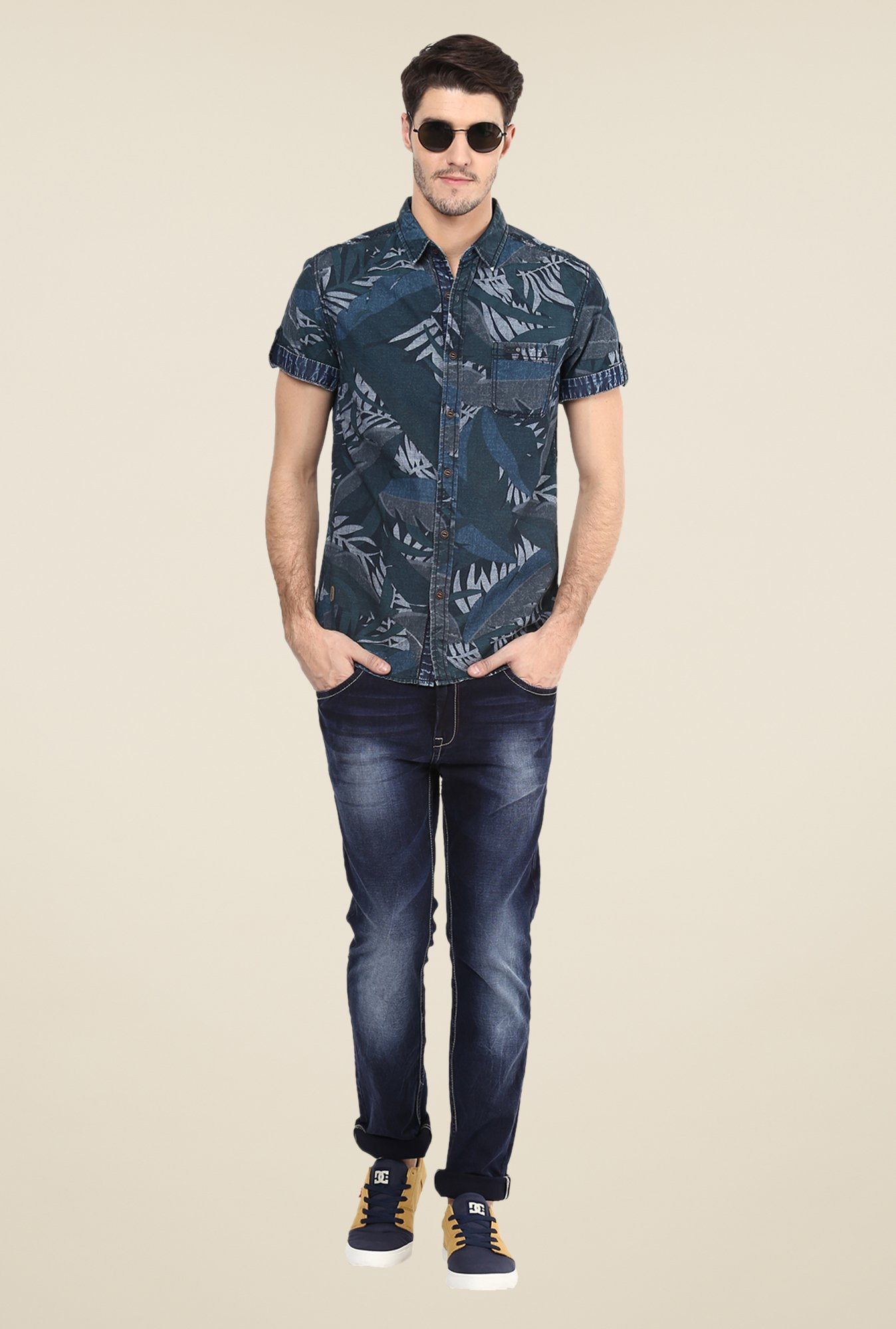 Mufti Teal Tropical Print Shirt