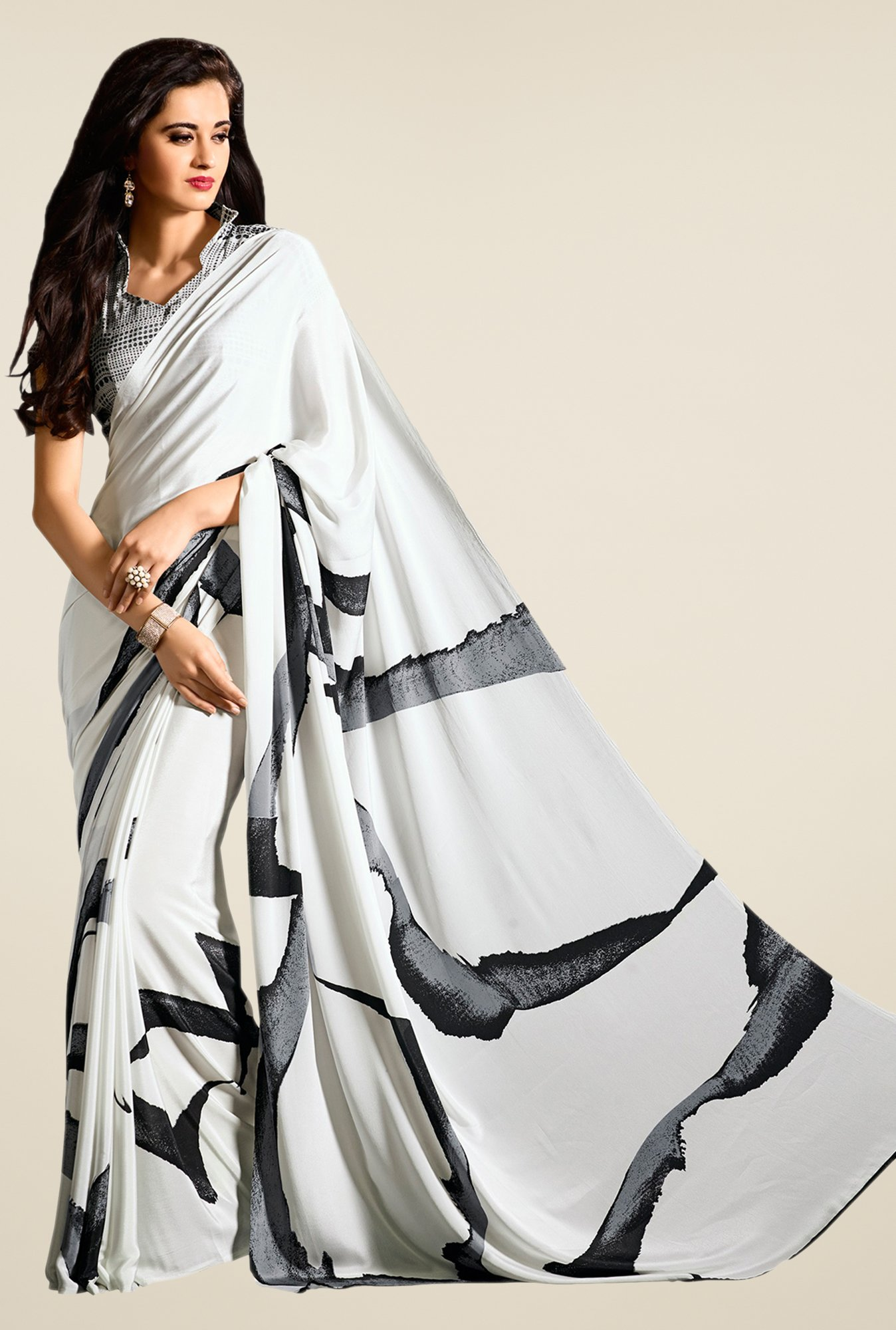 Salwar Studio White & Black Printed Saree