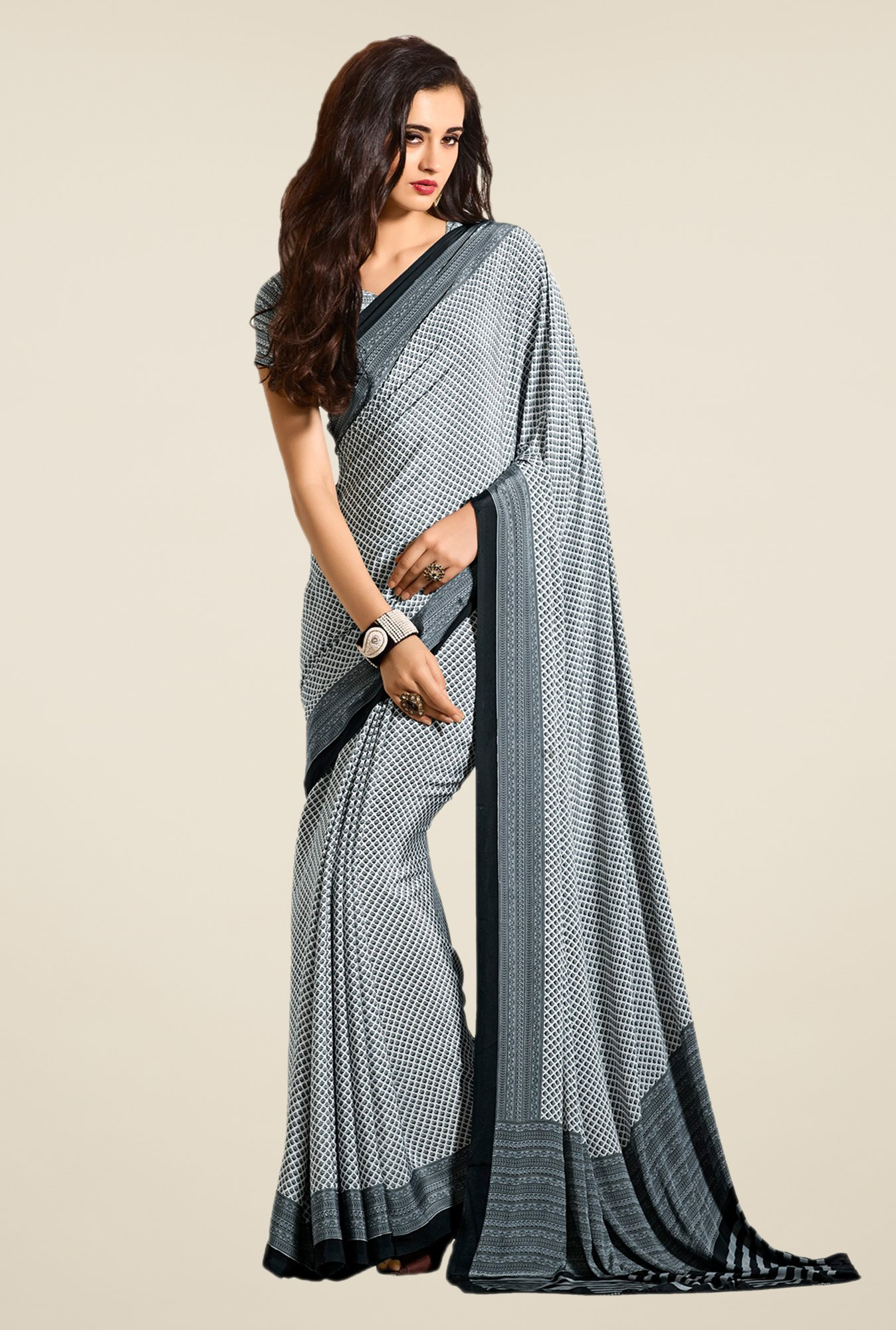 Salwar Studio Black & White Printed Saree