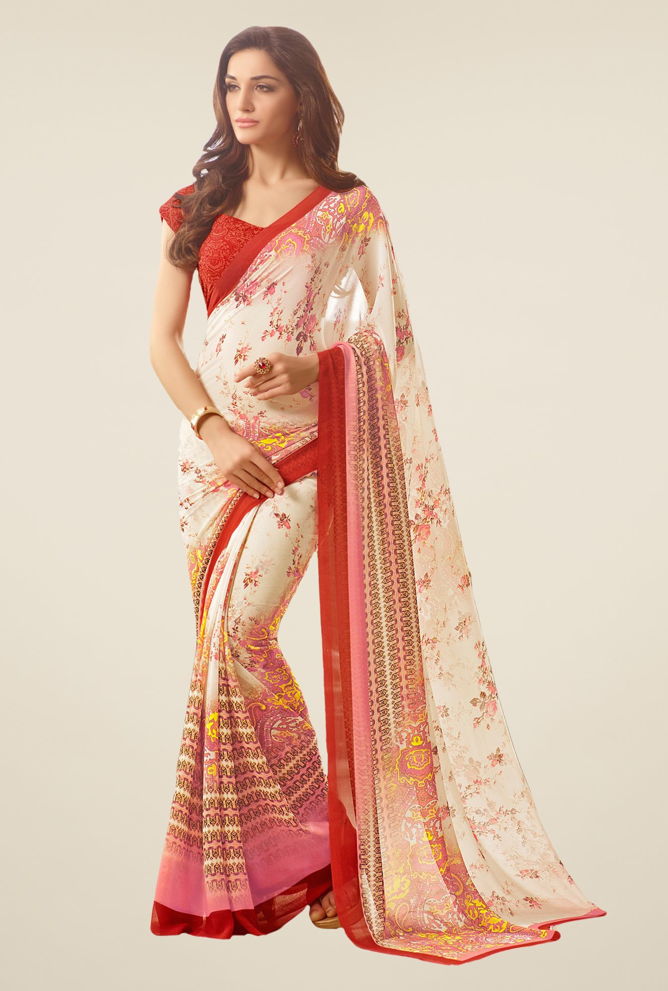 Salwar Studio Off White & Red Floral Print Saree