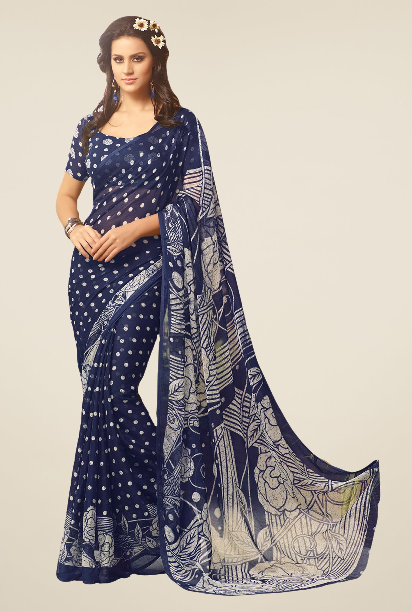 Salwar Studio Navy Polka dots Saree
