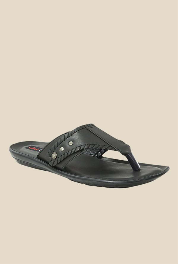 Get Glamr Tyson Black Slide Sandals