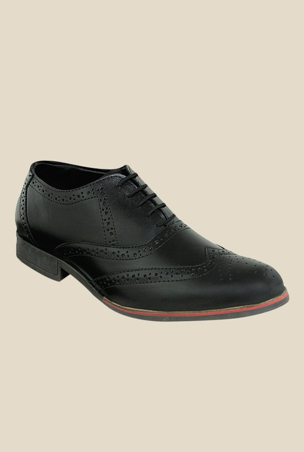 Get Glamr Alex Black Brogue Shoes