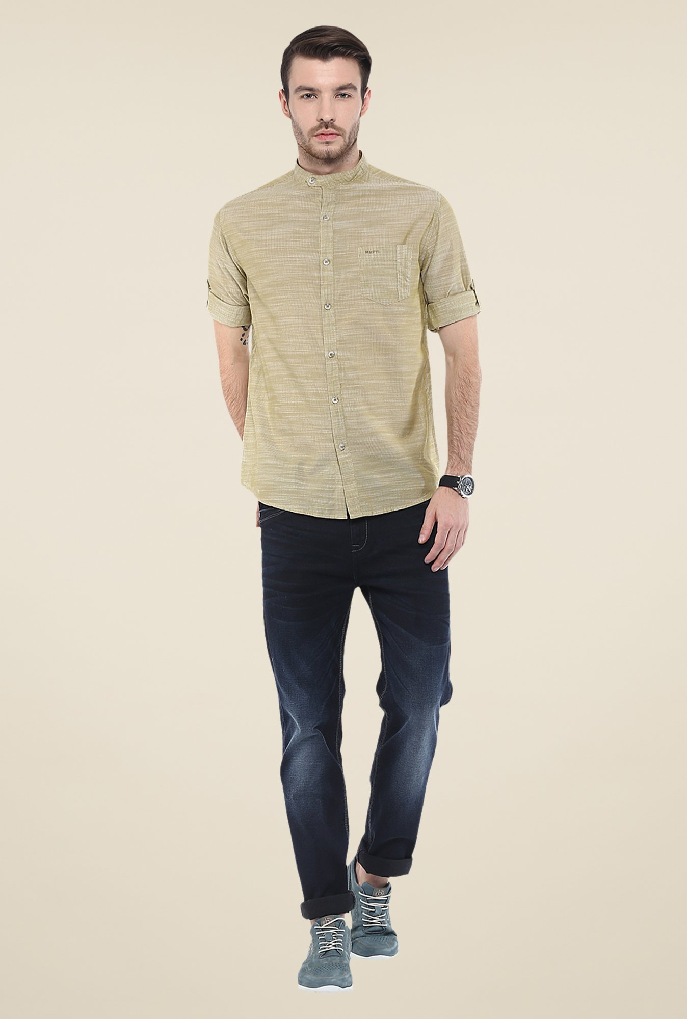 Mufti Khaki Textured Shirt