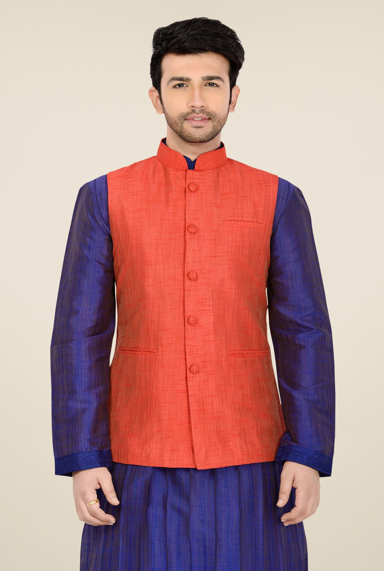 Manyavar Orange Textured Nehru Sleeveless Jacket