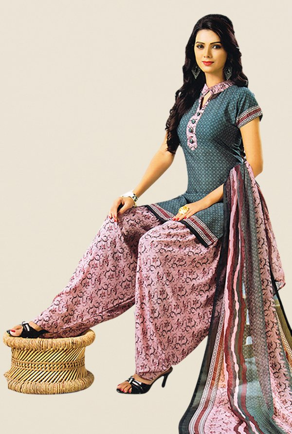 Salwar Studio Grey & Pink Printed Dress Material