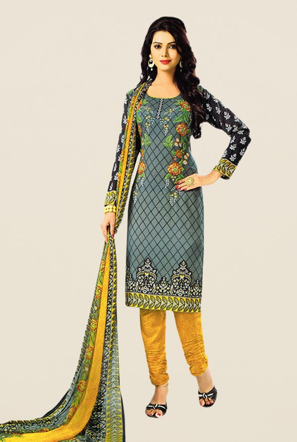 Salwar Studio Grey & Mustard Printed Dress Material