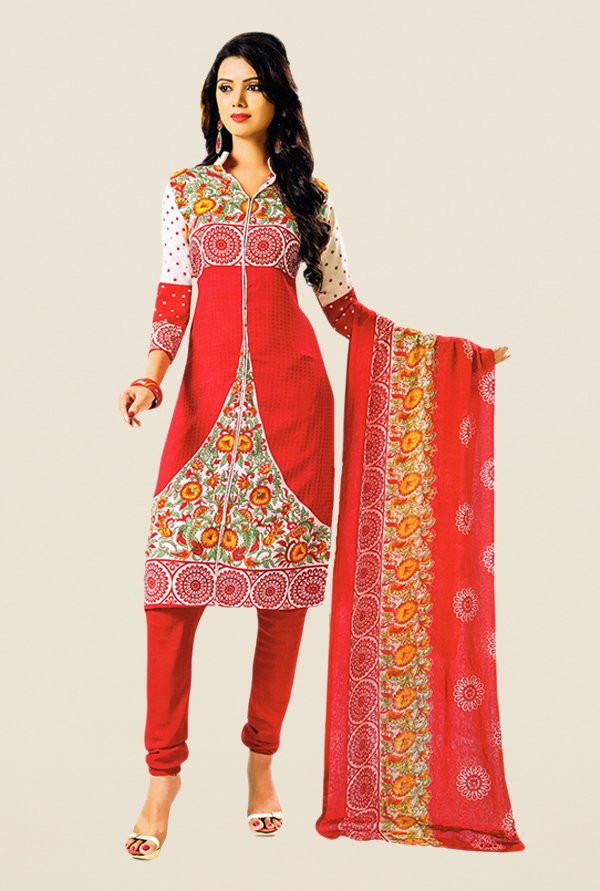 Salwar Studio Red & Off White Printed Dress Material